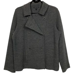 Eileen Fisher Wool Double Breasted Pea Coat Jacket